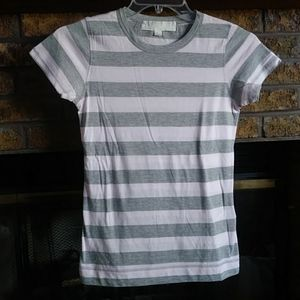 Forever 21 pink grey striped basic s/s tee